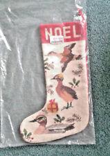 Embroidered needlepoint Noel & Birds Christmas stocking NEW