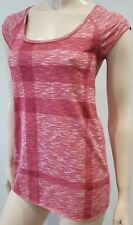 BURBERRY BRIT Red & Cream Cotton Check Printed Short Sleeve T-Shirt Top XS BNWT