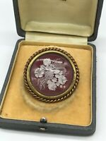 Vintage FRENCH Reversed Carved Lucite Roses Flowers Brooch detailed