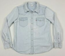 Levis Womens Denim Light Wash Blue Long Sleeve Snap Button Western Shirt XL