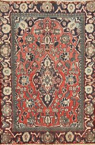 Vintage RED Traditional Floral Ardakan Hand-knotted Area Rug Wool 4'x5' Carpet