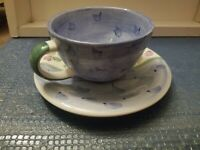 BELLA CERAMICA LARGE COFFEE CUP AND SAUCER MULI COLOR HAND PAINTED