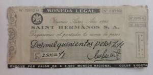 ARGENTINA script Saint Hermanos token 2500 ps check WWII 1940 chocolate c° ficha