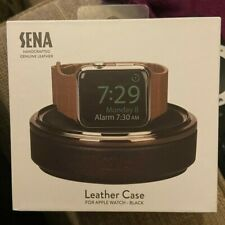 Genuine Sena Leather Travel Case & Stand for Apple Watch - Black Luxury Elegant