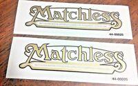 Matchless (Colliers) gold w/black edge rear fender gas tank vinyl transfer, pair