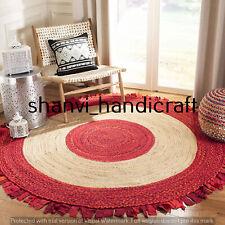 Natural 4x4 Feet Braided Round Cotton Jute Handmade Woven Floor Carpet Area Rugs