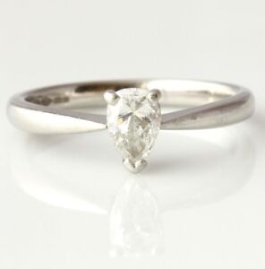 Platinum Pear Shape 0.40ct VS Diamond Solitaire Engagement Ring. Gift Box Size L