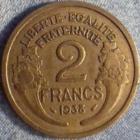 PIÈCE MONNAIE  2 FRANCS BRONZE 1938     Ref : 00090