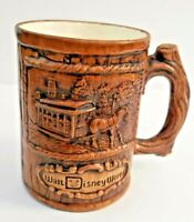 Walt Disney World Production Vintage Coffee Mug Wooden Look Cup Horse Carriage