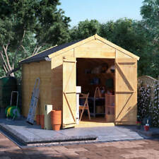 12x8 Tongue & Groove Windowless Wooden Shed Workshop Double Door Apex Roof Felt