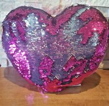 """Pink Mermaid Reversible Sequin Heart Pillow Silver 14"""" Teenage Room Hug Fun"""