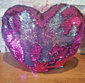"Heart throw Pillow Pink Mermaid Reversible Silver 14"" girl  Room Hug Fun love"