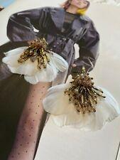Latoir Fashion Blogger White Crystal Beaded Feather Drop Statement Earrings BNWT