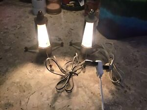 Two Vintage Mid Century Modern Atomic Table Lamps Light European MCM MOD