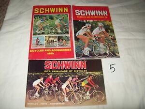 #5 Lot of 3 vintage SCHWINN Bicycles Sales Brochure Catalog 1978-80