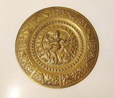 Old Indian Brass Wall Plaque Shrine / Charge Of Four Armed Hindu Deity - Vishnu