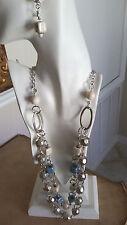 Designer Madame Mystique Handmade Blue White Polish Square Necklace Earring Set