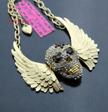 M663G  Betsey Johnson  Gold Tone w/Crystal Angel Wings Skull Pendant Necklace