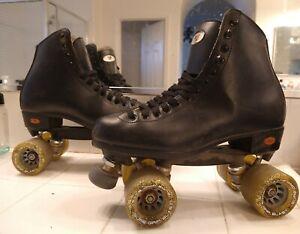 Riedell Roller Speed Skates Sure Grip Blast Wheels PowerDyne Plates Size 9 Nice!