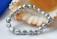 Natural 8-9mm Silver Gray Baroque Freshwater Pearl Stretch Bracelet Bangle
