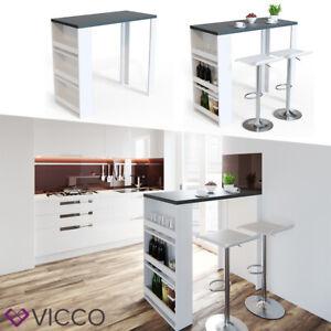 Vicco Table de bar avec étagère et compartiments table de café Blanc, Anthracite
