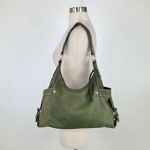 Fossil Castille Hobo Bag Leather Olive Green Large Buckles Shoulder Strap