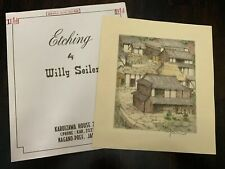 Original Willy Seiler Landscape Etching - From Occupied Japan - Colored