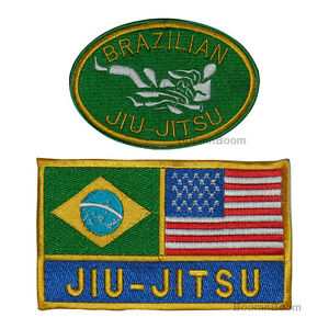 Brazilian Jiu-Jits Patches Set for JiuJitsu Uniform Brazil USA Flag & BJJ Patch