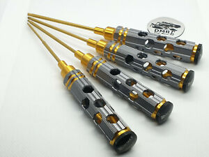 Metric Allen HEX Driver RC Tool Set 4Pcs - Titanium Coated Tips - Hobby