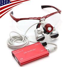 USA! Red Dental Surgical Binocular Medical Loupes 3.5X 420mm LED Head Lamp light