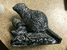 """Hand Carved Soapstone Eskimo Inuit Beaver by Jolin Canadian Sculpture 5"""""""