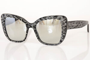 Dolce & Gabbana DG4348 black silver leopard cat eye frame sunglasses NEW $340