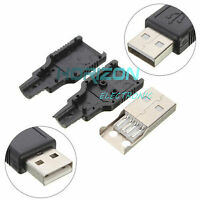 50Pcs USB2.0 Type-A Plug4-pin Male Adapter Connector jack&Black Plastic Cover Go
