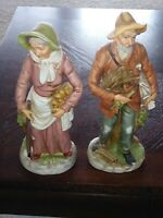 Vgt Home Interior Homco Old Man & Woman Farmers #8884 Figurines