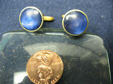 HICKOK  CUFF LINKS  GOLD TONE w/  BLUE  STONES VINTAGE ORIG.