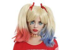Mesdames blonde harley quinn perruque vaporisé rose & bleu super méchant cheveux