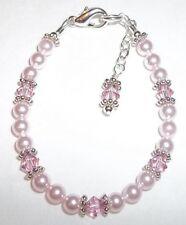 Child/Girl Bracelet: Pink Crystal, Pearl & Silver made w Swarovski Elements
