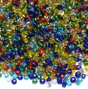 SB18 Multi-Color Assorted Mix Silver Lined 6/0 4mm Glass Seed Bead 1oz