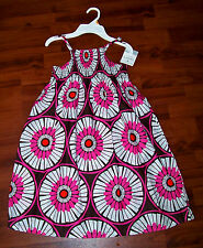 New! Girls CARTER'S Pink Brown White Orange Cotton Flower Dress Size 4 - NWT!!