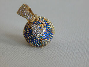 Gold Tone Clear Blue CZ Stone World Globe Bling Pendant