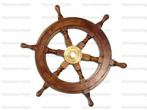 Nautical Ship Wheel Brown Wooden Boat Steering Wheel Wall Decor 18 Inches