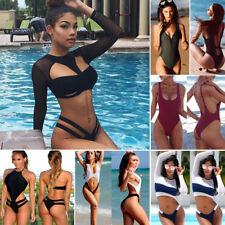 Women's Long Sleeve Swimwear Push-up Bikini Set Swimsuit Bathing Suit Beachwear