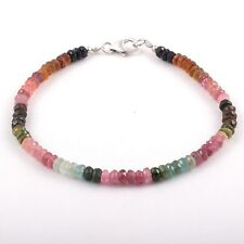 Multi Tourmaline Gemstone Beaded Bracelet | 4.5 MM Faceted Rondelle Bracelet