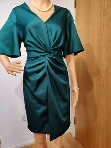 COAST TWIST DRESS SIZE UK 14 GREEN 100% POLYESTER