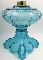 Antique Blue Glass Princess Feather EAPG Oil / Kerosene Sewing Lamp Art Nouveau