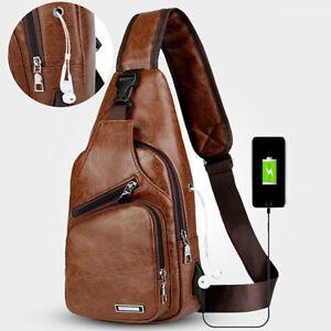 Men's PU Leather Sling Bag Casual Crossbody Shoulder Backpack Vintage Chest Pack