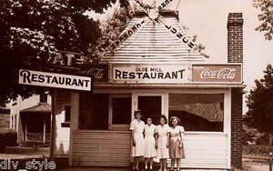 Coca-Cola postcard Olde Mill Restaurant unused mint waitresses ice cream