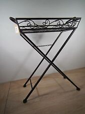 Beistelltisch Blumentisch Klapptisch Tabletttisch  Metall Eisen - schwarz  braun