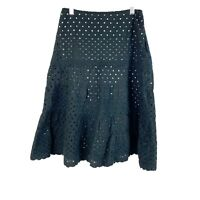Michael Kors Eyelet A Line Midi Skirt Black Lined Embroidered Womens Size 0