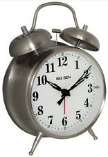 Westclox Big Ben Twin Bell Silver Analog Alarm Clock Battery Powered Metal Case